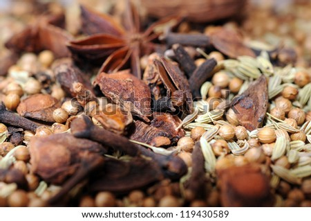 mix of spice Cinnamon And Star Anise - stock photo
