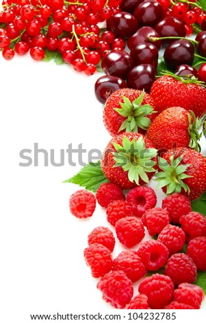 Mix of summer berries on a white background. - stock photo