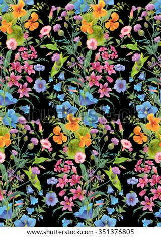Mix of summer flowers. Seamless background pattern version 2 - stock photo
