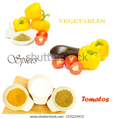 Mix of vegetables and spices - stock photo