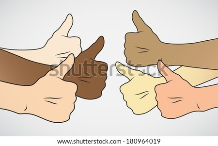 mix races Thumbs up  - stock photo