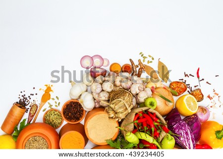 Mix spices and herbs white background for herbs or spices, Top view indian spices and herbs difference ware on white background with copy space for design vegetable, spices, herbs or foods content. - stock photo