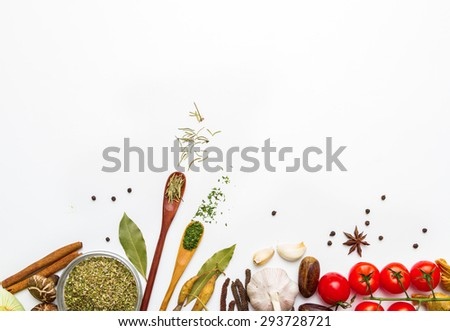 Mix spices on white background,indian spices in terracotta pots, group of indian spices, group of spices, india spices arranged in different size terracotta,spices and herbs top view and copy space. - stock photo