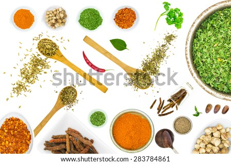 Mix spices on white isolate background for decorate project. - stock photo
