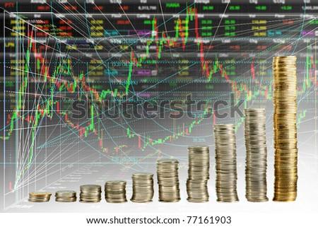 mix stock exchange graph - stock photo
