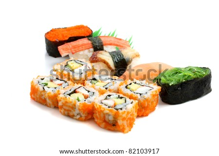 Mix sushi isolated in white background - stock photo