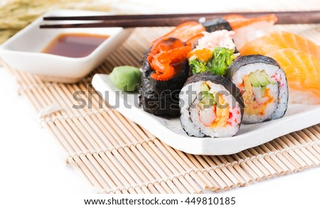Mix Sushi on white dish isolated on white background,Traditional Dishes of Japan