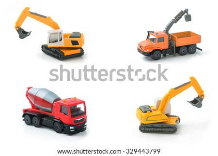 Mix toy construction transport collection set.  - stock photo