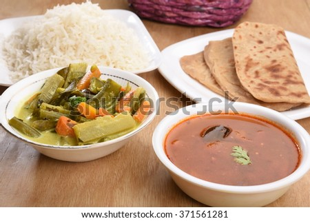 Mix Veg Avial with Parathas, Tomato Rasam and Rice