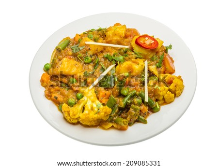 Mix vegetable masala - Indian traditional food - stock photo
