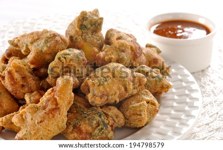 Mix Vegetable Pakoras, An extremely delicious and mouth watering snack of Pakistani & Indian Peoples - stock photo