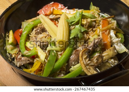 Mix vegetable stir fried with steam rice -Thai food  - stock photo