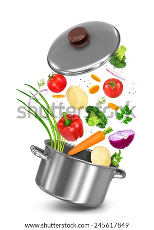 Mix vegetables falls in a pot on a white background - stock photo