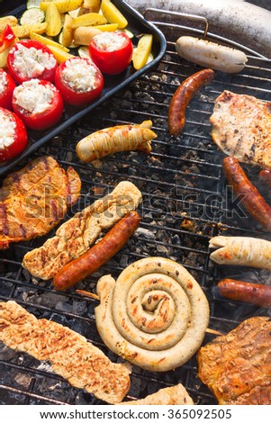 Mixed BBQ with meat and veggie assortment - stock photo