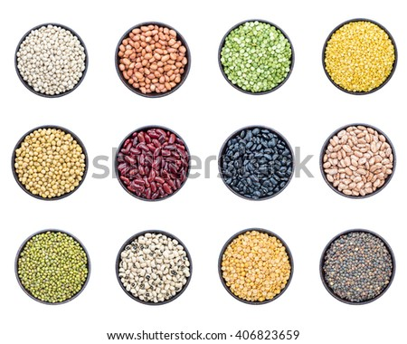 Mixed beans and lentils in bowl isolated on white background - stock photo