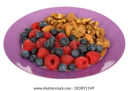 Mixed Berries and Nuts - stock photo