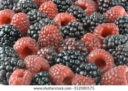 Mixed berries background with raspberries,boysenberries and blackberries - stock photo