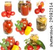 Mixed canned vegetables. Fresh garden vegetables and also a jarred of canned cucumbers on white background - stock photo