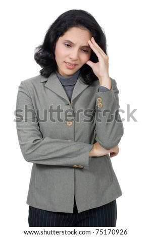 Mixed caucasian asian business woman feel dizzy. Isolated over white background - stock photo