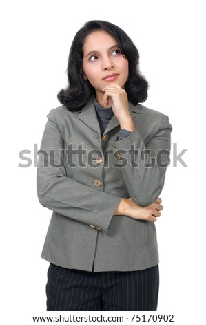 Mixed caucasian asian business woman, thinking on something. Isolated over white background - stock photo