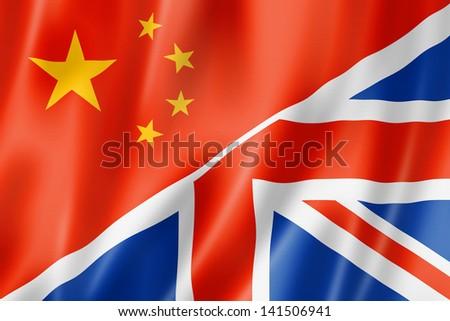 Mixed China and United Kingdom flag, three dimensional render, illustration - stock photo