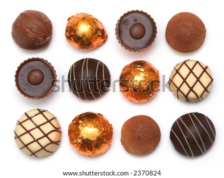 Mixed Chocolates against a white background
