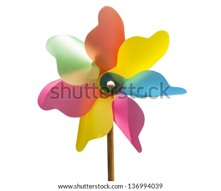 Mixed color Pinwheel, toy fan isolated (with clipping path) - stock photo
