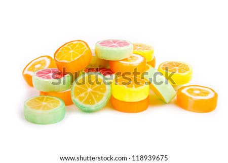 Mixed colorful candies isolated on white