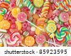 Mixed colorful fruit bonbon close up - stock