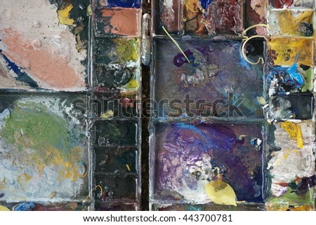 Mixed colorful of oil color paint tray art - stock photo