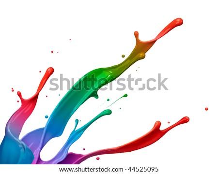 mixed colorful paint splash isolated on white background - stock photo