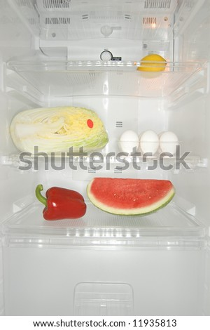 Mixed content inside a fridge - stock photo
