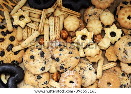 Mixed cookies background close up - stock photo