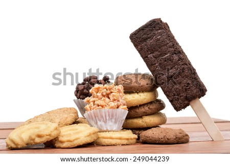 Mixed cookies isolate on white background - stock photo