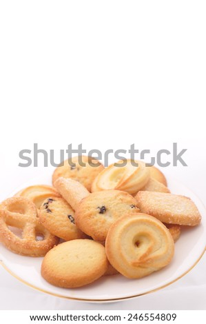 Mixed cookies on white background