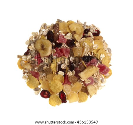 Mixed cornflakes and muesli with dried fruit isolated on white background