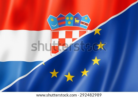 Mixed Croatian and european Union flag, three dimensional render, illustration - stock photo