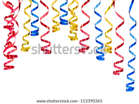 Mixed curling  paper isolated on white background