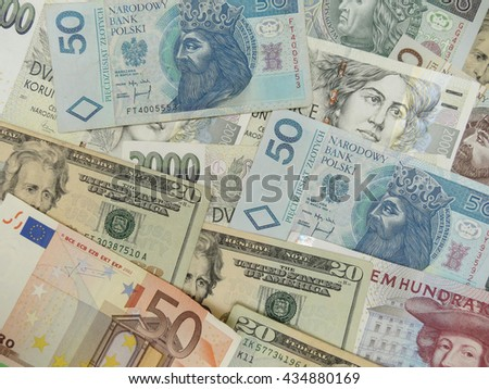 Mixed currency notes - USD, EUR, SEK, PLN, CZK - stock photo