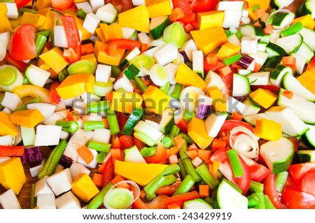 Mixed cut vegetables - stock photo