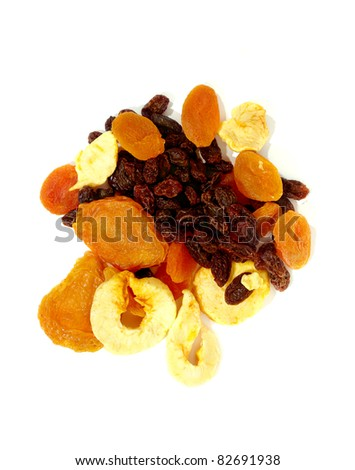 mixed dried fruit on white background healthy fat-free diet snack - stock photo