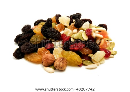 Mixed dried fruits on a white background