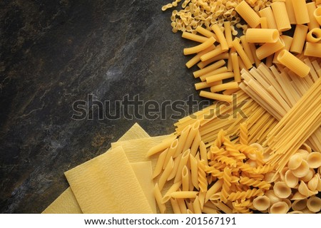 mixed dried pasta selection - stock photo