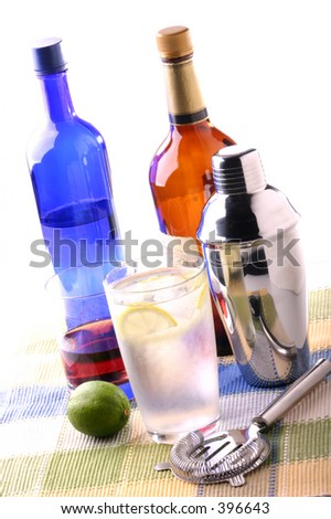 Mixed drinks on a place mat - stock photo