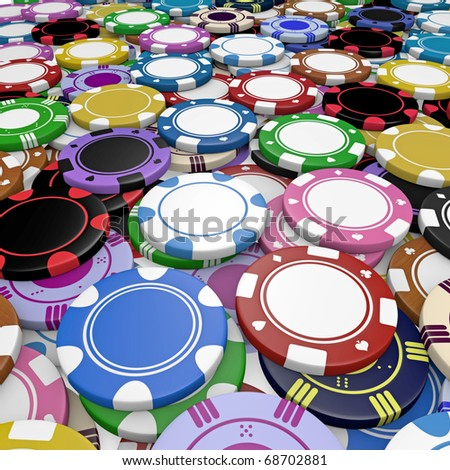 mixed fiches on a boardgames - stock photo