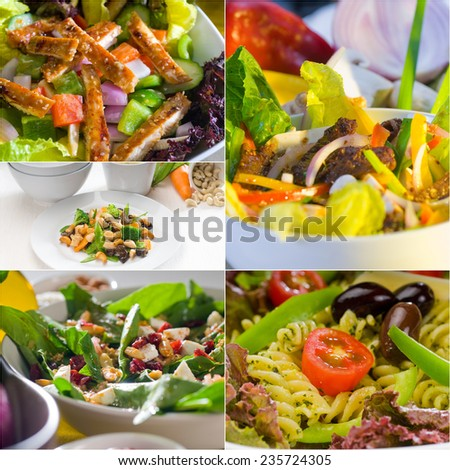 mixed fresh salad collage composition nested on a square frame - stock photo