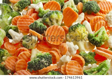 Mixed Frozen various vegetables surface top view  background