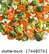 Mixed Frozen various vegetables surface top view isolated on white background - stock