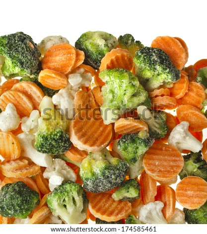 Mixed Frozen various vegetables surface top view isolated on white background - stock photo