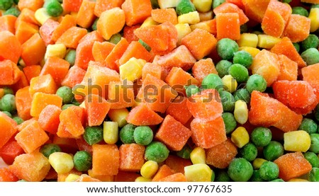 mixed frozenned vegetables background - stock photo